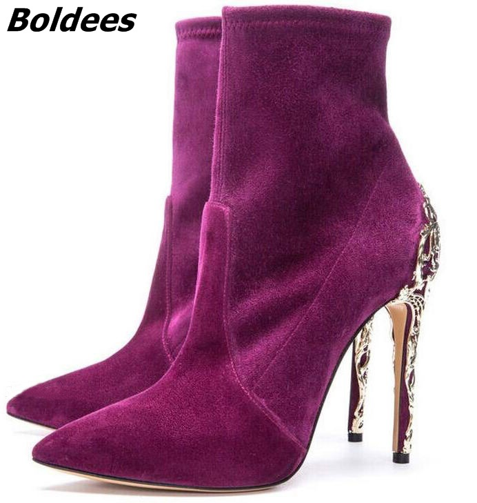 Irresistible Purple Suede Pointed Toe Stiletto Heel Short Boots Pretty Women Metal Branch Shape Thin High Heel Ankle Boots New new arrival awesome pink silk metal stiletto high heel shoes women fancy metal branch decoration thin heel pointy pumps hot sell