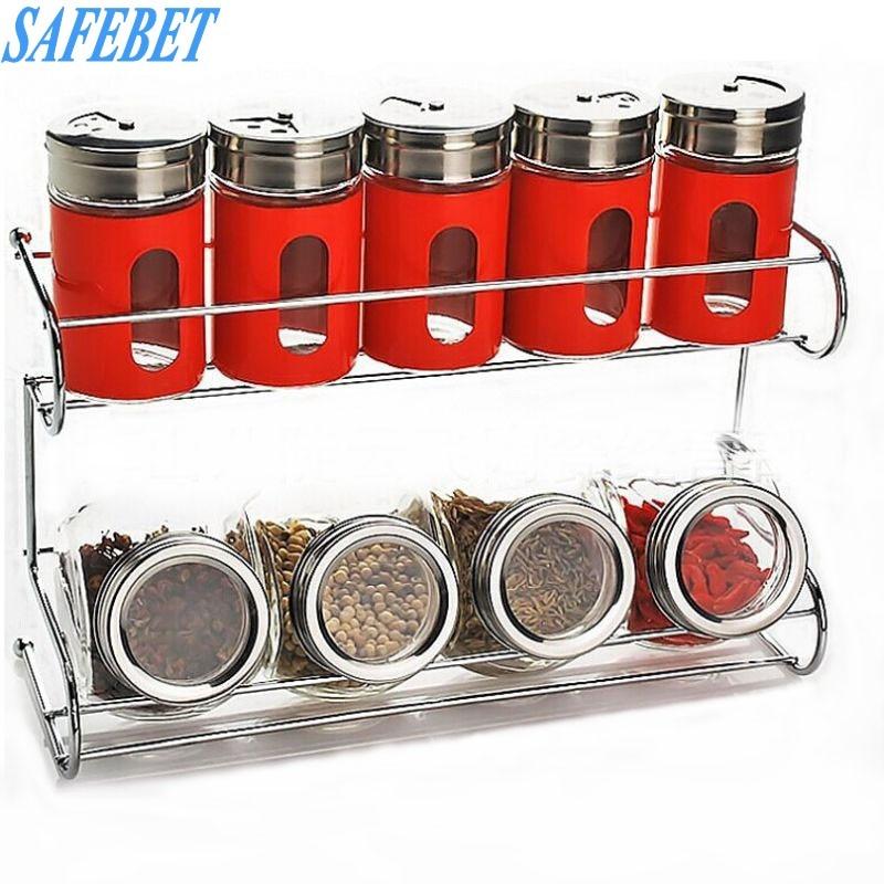 SAFEBET 10 Pcs Stainless Stee Spice Storage Bottle Kitchen Spice Tool Organizer Glass Food Spice Kitchen