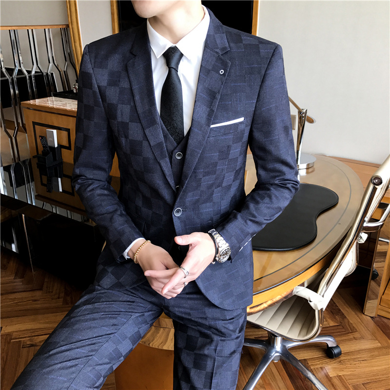 2019 Men Take A Three-piece Business Case Grain The Groom's Best Man Cultivate One's Morality Fashion Young Suit
