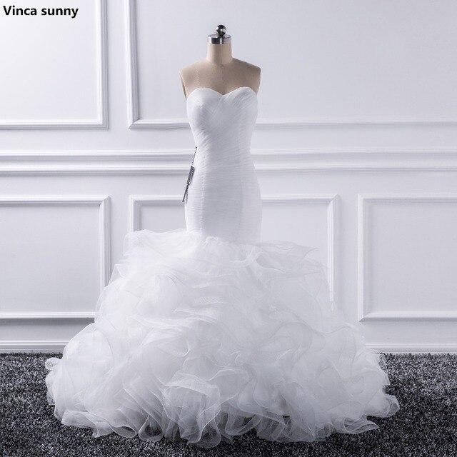 Mermaid Wedding Dresses 2019 Sweetheart Tull Ruffles Bridal Gown Sweep Train Wedding Gown vestido de noiva