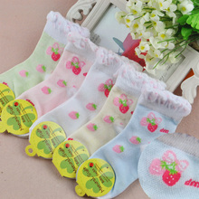 5 pairs / girl socks Duantong 2016 new cotton absorbent, breathable socks strawberry pattern of 1-9-year-old girl