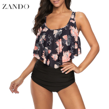 Zando Women Ruffled Flounce Strappy Bikini Print High Waisted Swimsuit Two Piece Bathing Suit Top with Swim Bottom