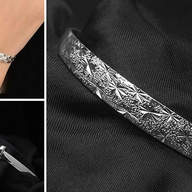 OMHXZJ Toptan Kişilik Moda OL Kadın Hediye Gümüş Tam Yıldız Resizable 925 Ayar Gümüş Manşet Bileklik Bileklik BR144
