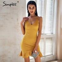 Simplee Sexy V Neck Ruffle Strap Mini Dress Women Skinny Black Mermaid Dress 2018 Summer Dress