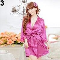 женская сексуальная искусственного шелка сплошной цвет халат короткий халат пижамы пижамы новое прибытие