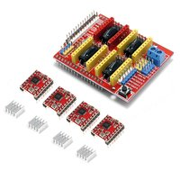 Free Shipping 4x A4988 Stepper Motor Driver with Heat Sink +CNC Shield Expansion Board for Arduino UNO R3 V3 Engraver 3D Printer
