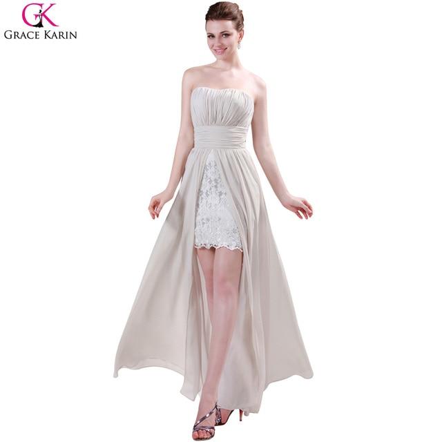 5cffa9a1baf1 Grace karin marfil alto bajo vestidos de noche de encaje 2017 banquete de  boda sin tirantes corto delantero volver elegante vestido de traje de ...