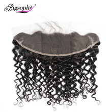 Bigsophy Peruvian Deep Wave Frontal Closure 13x4 Human Lace Remy With Body Hair 8-20 Inches Natural Color