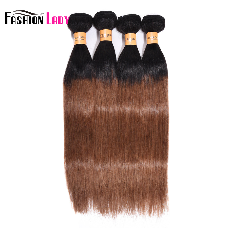 Fashion Lady Pre-Colored Peruvian Straight Hair 4 Bundles 1B 30 Bundles Two Tone Human Hair Weave Ombre Hair Bundles Non-Remy