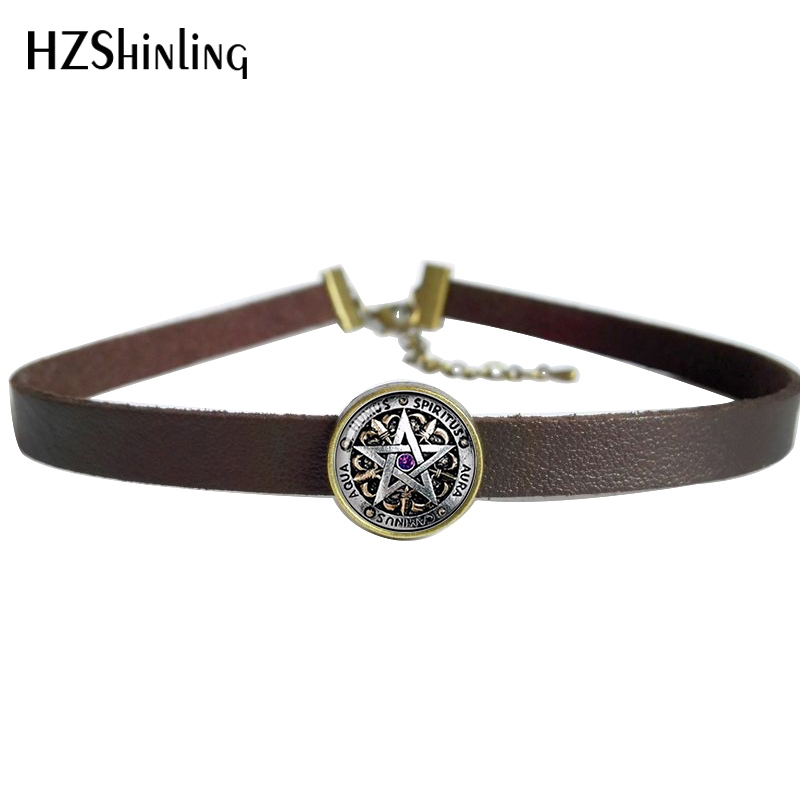 2017 NEW Occult Wiccan Leather Necklace Pentagram Wicca Pendant Glass Jewelry Leather Choker Necklace 1