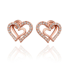 Classic Rose Gold Color Double Heart Inlaid Cubic Zircon Diamonds Stud Earrings Bridal Wedding Engagement Jewelry Best Gifts