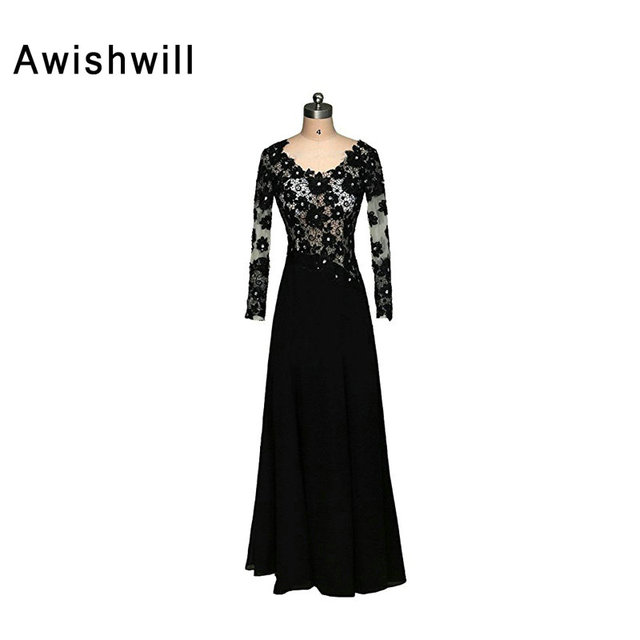 Robe de Soiree Black Evening Gowns Women Long Sleeve Evening Dresses See  Through Top Lace Chiffon Prom Party Formal Dress ed61d69f42a7