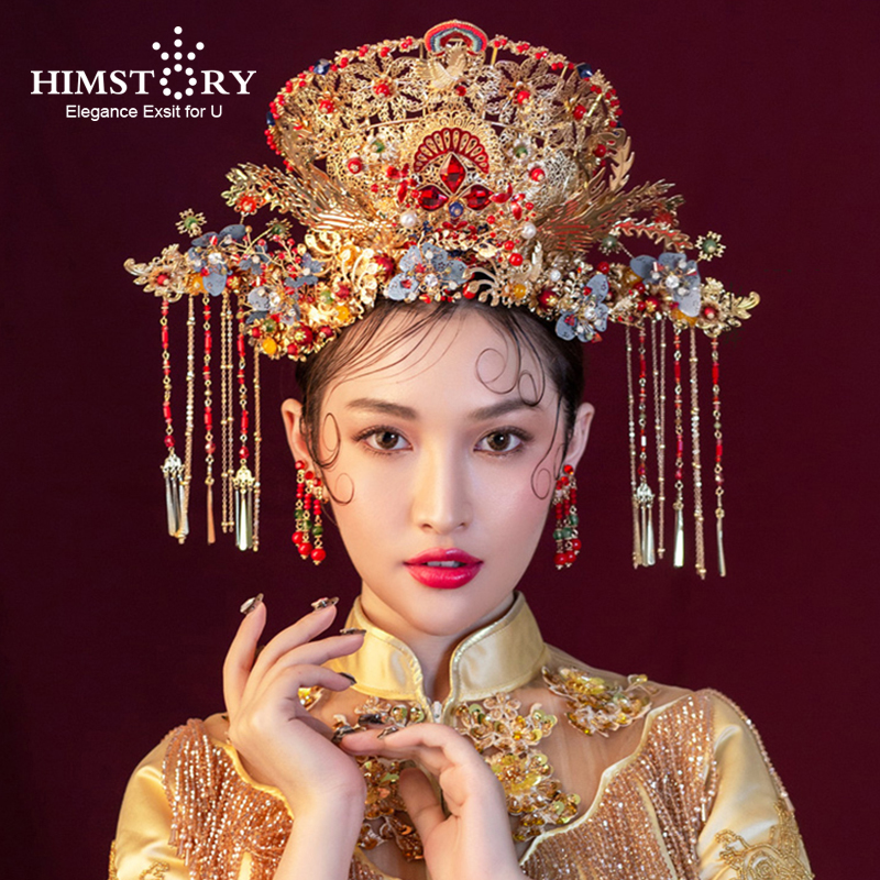 Himstory Luxurious Chinese Style Phoenix Princess Bridal Hair Crown Vintage Chinese Gold Headbands Wedding Hair Accessories