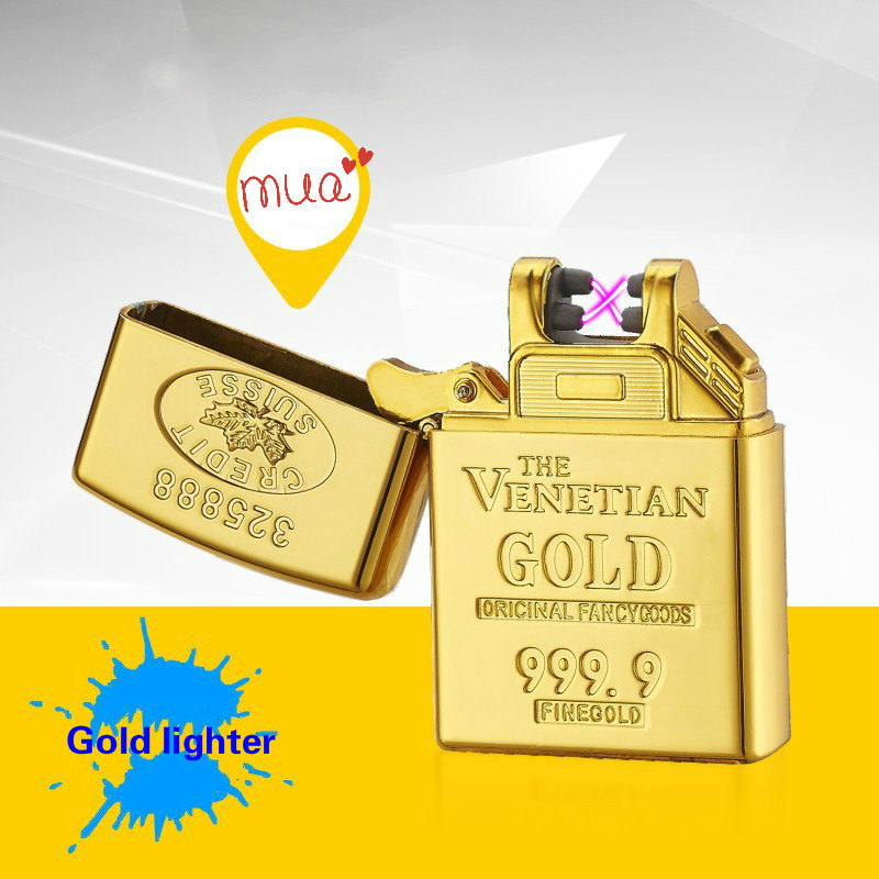 Gold font b USB b font Rechargeable Lighter Windproof Cigarette Arc Plasma Flameless Electric Fashion Plasma