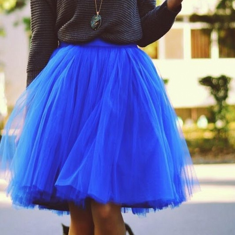 royal blue tulle skirts autumn knee length
