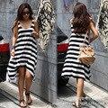 Caliente más el tamaño al por mayor de las mujeres vestidos de verano de la muchacha rayada ocasional irregular beach dress sexy vestido de verano sin mangas arnés dress