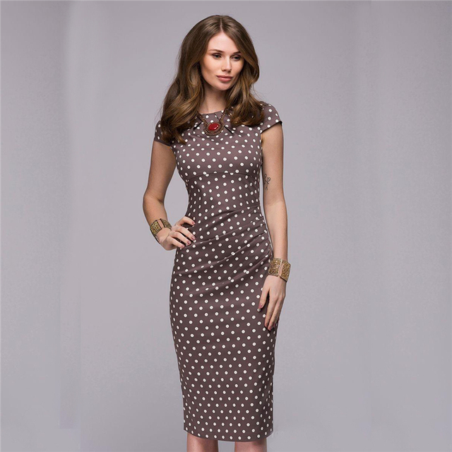 Summer Dress 2018 Women Elegant Vintage Polka Dot Dress Short Sleeve Sexy Bodycon Casual Retro Party Dresses Female Sundress