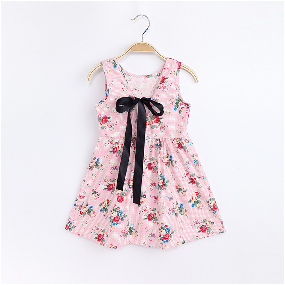 1-7 Years Baby Girls Sleeveless Flower Print Dresses Clothes Kids Summer Princess Dress Children Party Ball Pageant Dress Outfit