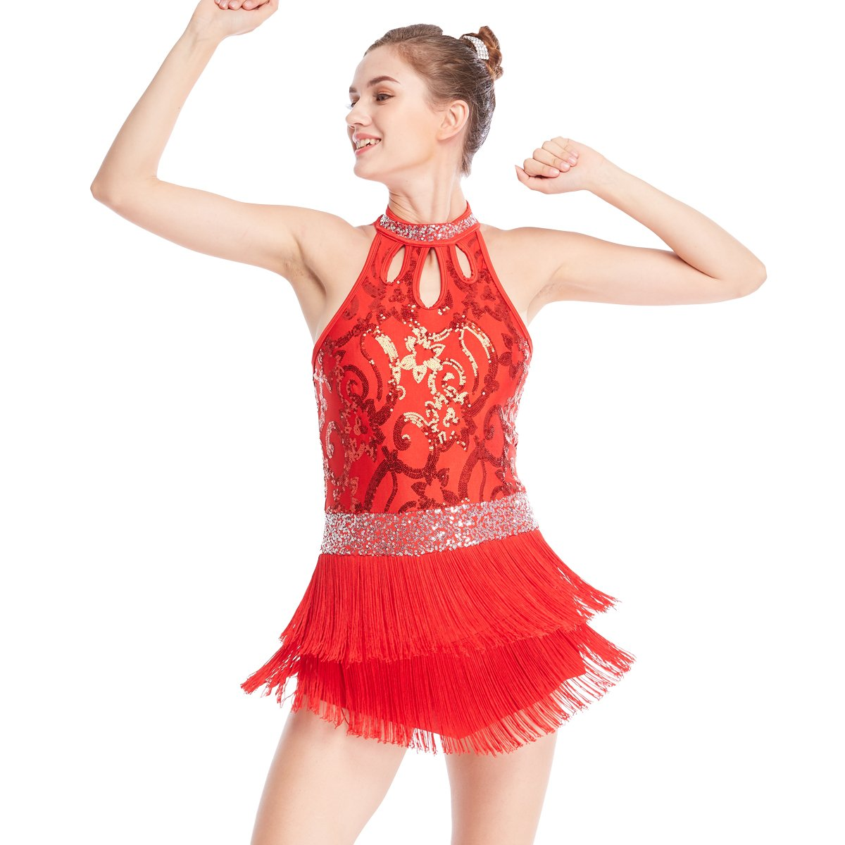 MiDee Floral Sequins Tap & Jazz Costume Mock Neck Rows Fringes Dress Dance Performance Outfits