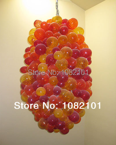Orange Colored Round Glass Ball Chandelier Lighting Fixture