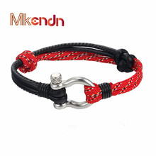 MKENDN Fashion Jewelry navy style Anchor leather Sport Camping Parachute cord Survival Bracelet Men Stainless Steel Buckle цена