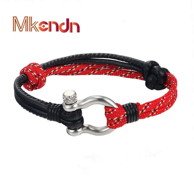 MKENDN Fashion Jewelry navy style Anchor leather Sport Camping Parachute cord Survival Bracelet Men Stainless Steel Buckle