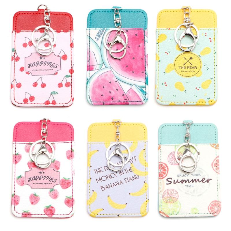 1PC Chic Fruit Leather ID Card Holder Card Case Badge Key Ring Keychain Stylish Gift все цены