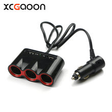 XCGaoon 120W 3 Sockets Way Car Auto Cigarette Lighter with 2 USB Port Real 5V 2.1A / 1A Car Charger for iPhone & all Mobile(China)