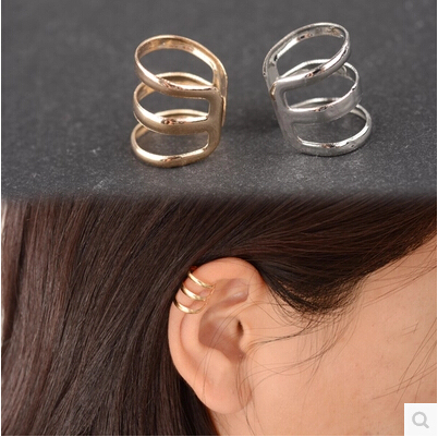 e 007 1 piece New punk rock ear clip silver gold men and women without ear piercings earrings party jewelry couple jewelry acces