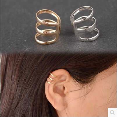 E 007 1 pieza nuevo punk rock oreja clip plata oro hombres y mujeres sin piercings pendientes fiesta joyería par joyas