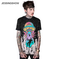 JESSINGSHOW New Arrival Loose Women Man T Shirts Spring Summer O Neck UFO Print Short Sleeve