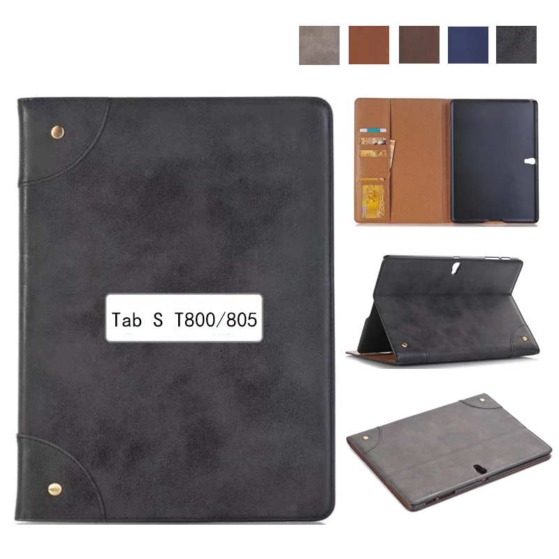 For Samsung Galaxy Tab S 10.5 Case T800 T805 Leather Retro Tablet Fundas Coque For Samsung Tab S 10.5 Cases Cover with Stand for samsung galaxy tab s 10 5 case t800 t805 leather retro tablet fundas coque for samsung tab s 10 5 case cover with stand