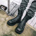 Chelsea boots male British 2017 new arrival leather men boots high top lace up booties riding shoes for mens