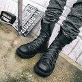 Chelsea masculino Británico 2017 nuevo cuero de la llegada hombres botas de alta top de encaje hasta botines de equitación zapatos para hombres