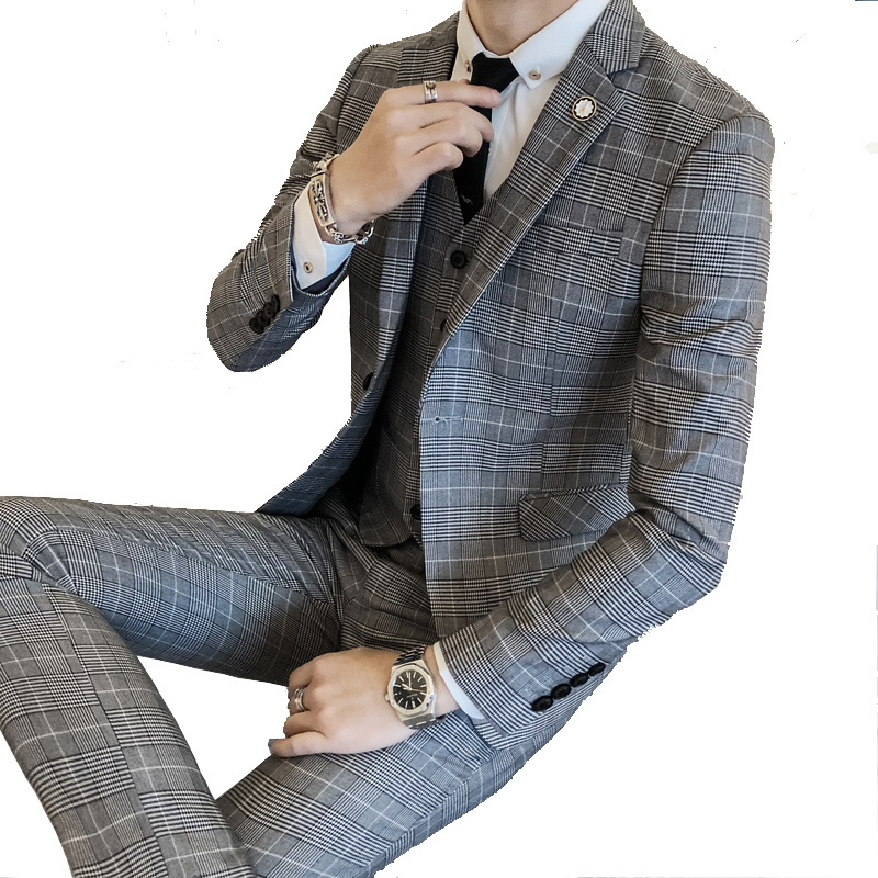 2019 neue Mode Boutique Plaid Männer Dünnes Formales Business Anzug/Bräutigam Hochzeit Kleid Karierten Anzug Männlich Drei  stück Anzug-in Anzüge aus Herrenbekleidung bei  Gruppe 1