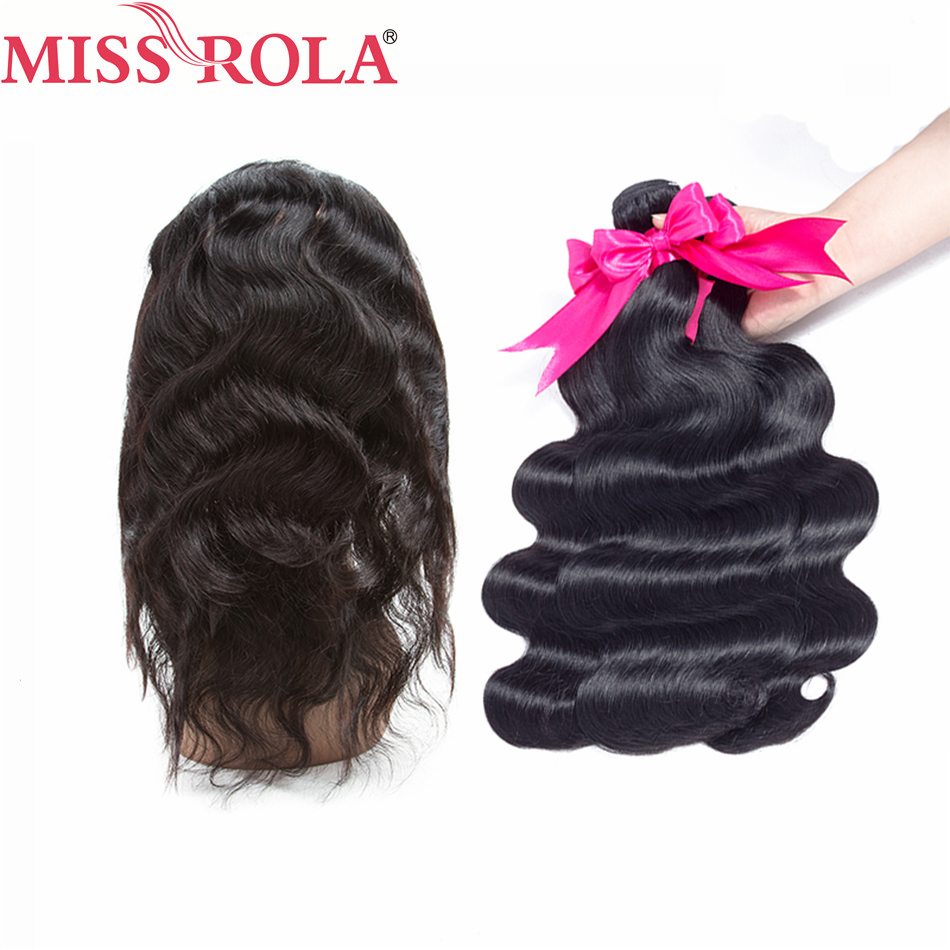 Miss Rola Hair Pre-colored Brazilian Body Wave 100% Human Hair Extensions 3 Bundles With 360 Lace Closure Nature Black Non Remy