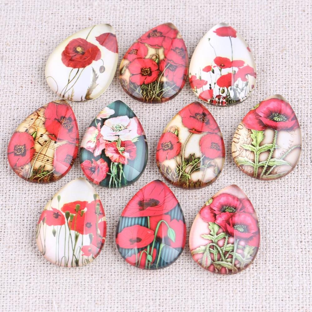 Onwear 20pcs Mix Poppy Flower Photo Teardrop Glass Cabochon 18x25mm Diy Flat Back Handmade Jewelry Findings For Earrings Pendant