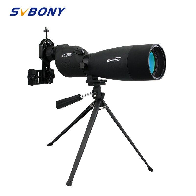 SVBONY зум 25-75x70mm SV17 Зрительная труба Водонепроницаемый прямые 180 телескоп De + штатив + адаптер для наблюдения за птицами стрельба из лука F9326