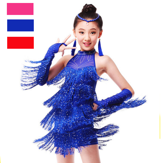 Fringe Latin Dance Dress For Sale Child Kid Girl Junior Salsa Bachata Latin Dance Costume Ballroom Dance Competition Dress