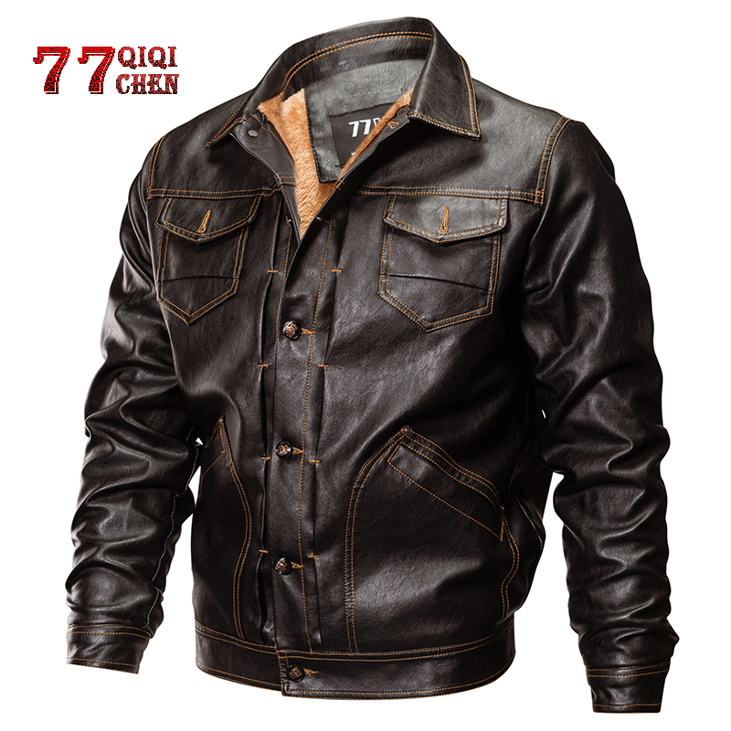 Winter PU Leather Jackets Men Tactical Army Bomber Jacket Warm Military Pilot Coat Thick Wool Liner Motorcycle Jacket Outerwear