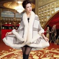 10 Colors Faux Fur Coat New 2015 Winter Luxury Faux Fox Fur Poncho Long Bat Sleeve