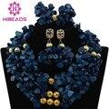 Único Azul Cuentas de Coral dama de Honor Del Traje Collar de Nigeria Coral Perlas Joyería Nupcial Conjunto Oro CNR423