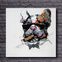 Unframed Modern Animal Oil Painting Cool Smoking Dog Hand Painted Abstract Decorative Canvas for Kids Room