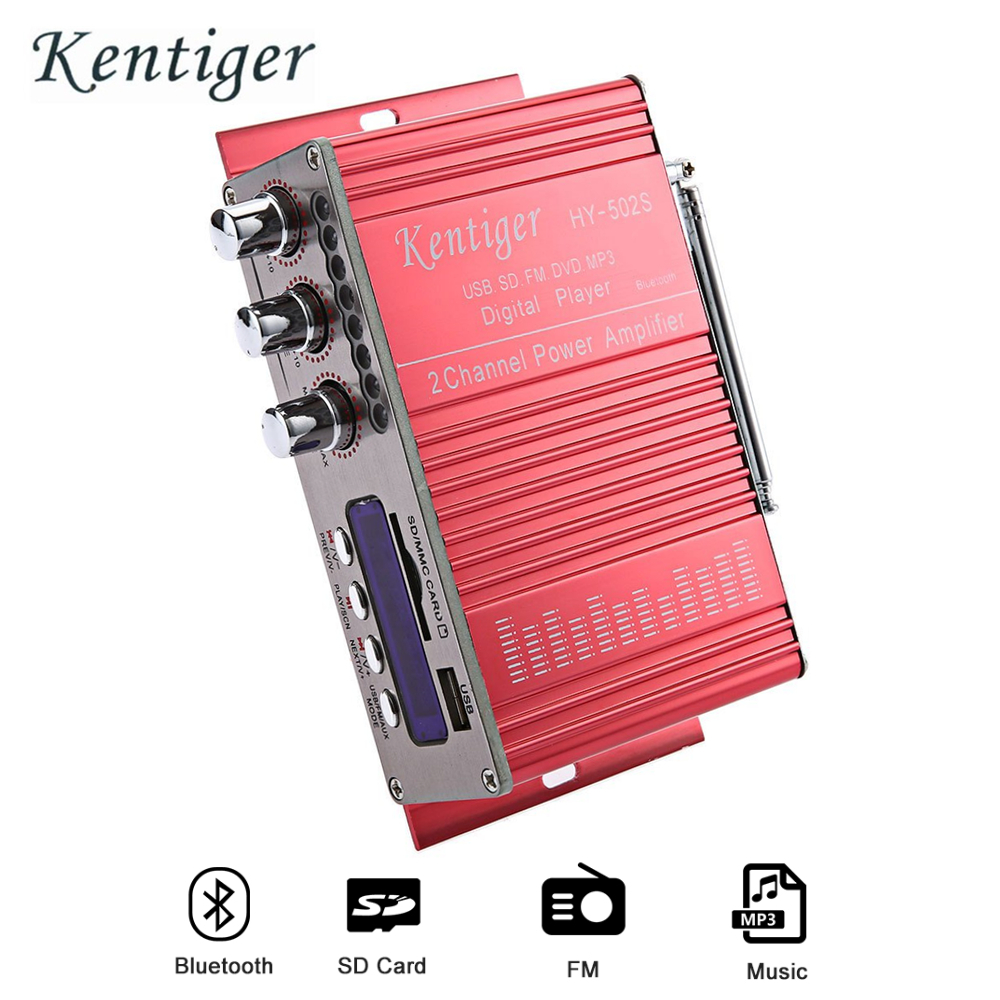 Kentiger HY-502S 2CH Bluetooth Amplifier Hi-Fi Super Bass Output Power Stereo Amplifier Audio Amplificador Support USB/SD Card