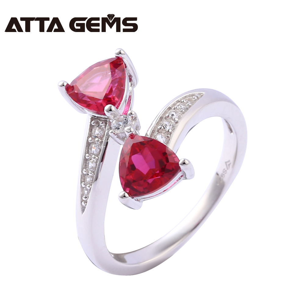 Ruby Sterling Silver Rings Women Wedding Engagement Silver Jewelry 2.3 Carats Created Ruby Romantic and Sweet Style For Girls gothic style floral hollow faux ruby anklet for women