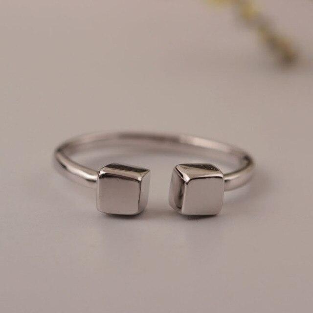 Flyleaf 925 Sterling-argent-bijoux Géométriques Cubes Anneaux Ouverts Pour Les Femmes Haute Qualité Personnalité Fille Cadeau Bague Femme