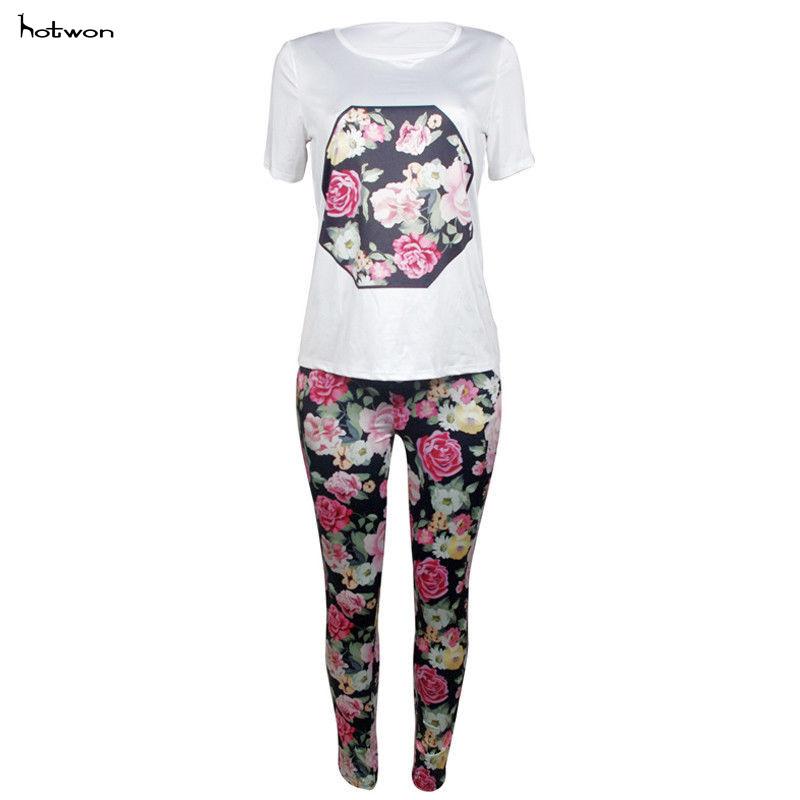 New Hot Sale Casual Floral Womens Clothing Summer T-shirt & Pants Two-piece T-shirt Suit