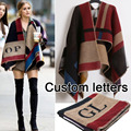 Custom Letter Brand Sweater Cardigan Olivia Palermo Runway Catwalk Street Snap Knitted Cardigan Plaid Cape Poncho Shawl Women