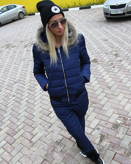 Crop Top And Skirt Set Real Full Zipper The New 2016 Winter Suit Heavy Hair Collar Hooded Warm Women's Cotton + Pants