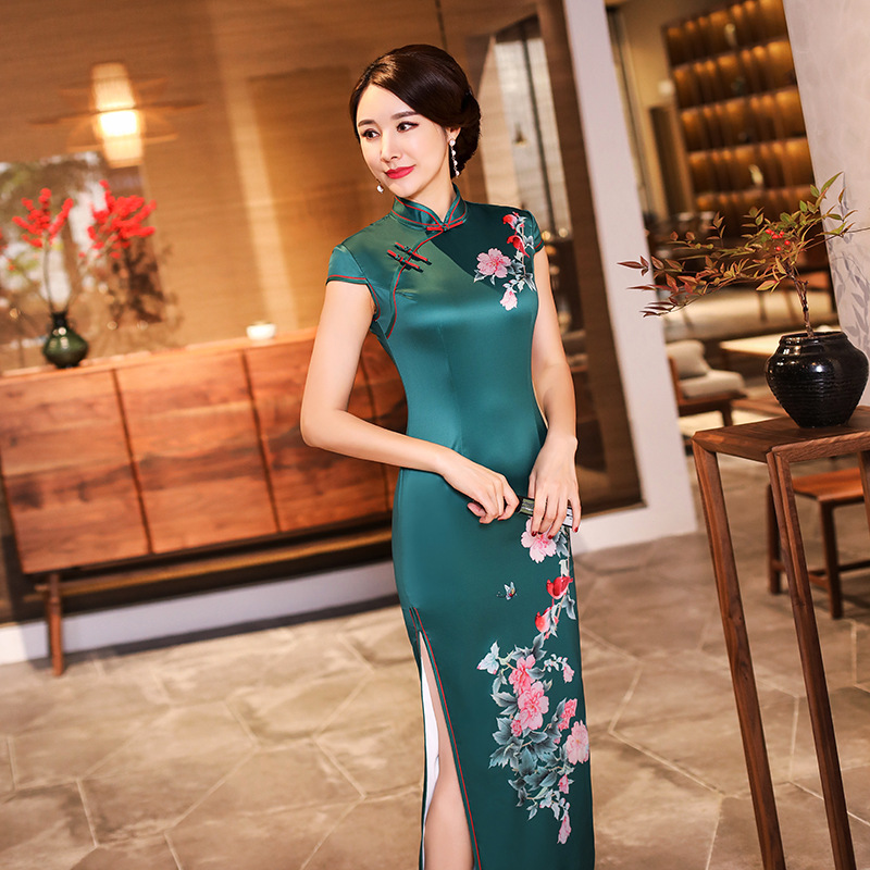 Sexy Long Cheongsam 2019 Summer Vintage Chinese style Dress Fashion Womens Rayon Qipao Slim Party Dresses